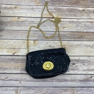 Black sequin evening bag with gold chain strap